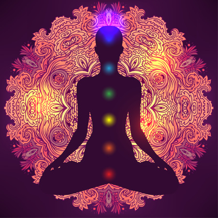 kundalini: Woman ornate silhouette sitting in lotus pose. Meditation, aura and chakras. Vector illustration.