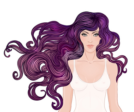 hair beauty: Beautiful Caucasian girl with long curly hair. Vector illustration. Spa, hair salon, beauty or fashion consent. Illustration