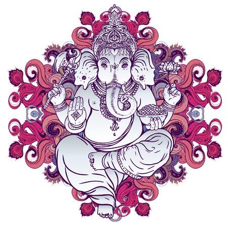 seigneur: Hindoue Seigneur Ganesha sur mandala coloré orné. Vector illustration.