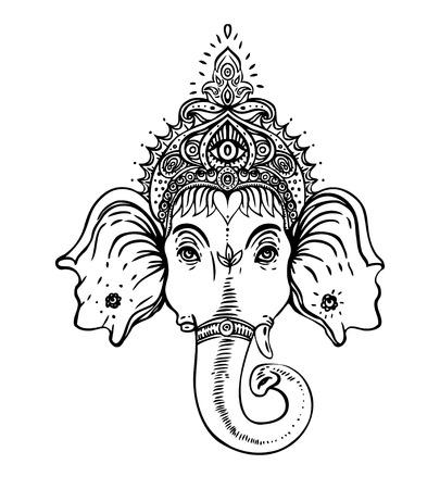 Hindu Lord Ganesha over ornate colorful mandala. Vector illustration. Vectores