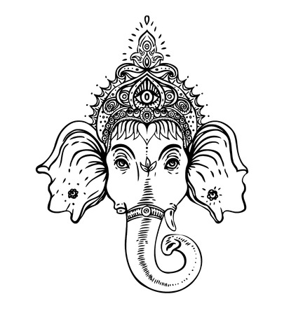 Hindu Lord Ganesha over ornate colorful mandala. Vector illustration. Stock Illustratie