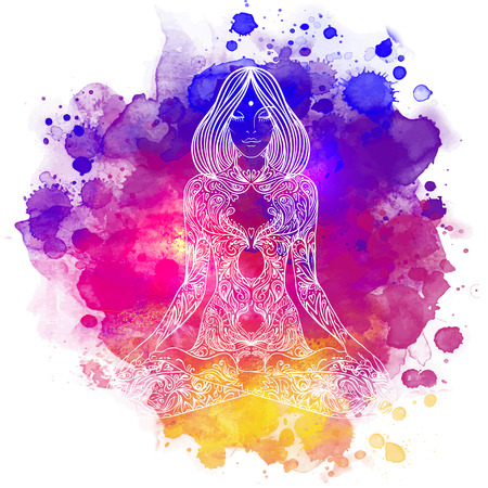 Woman ornate silhouette sitting in lotus pose. Meditation concept. Vector illustration. Over colorful watercolor background. Stock Illustratie