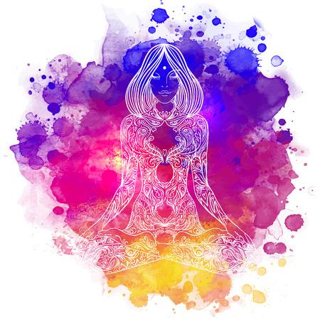 Sierlijke silhouet van de vrouw zitten in lotus pose. Meditatie concept. Vector illustratie. Over kleurrijke aquarel achtergrond. Stockfoto - 43573248