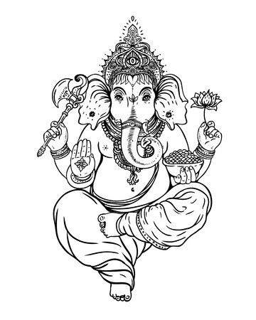 Hindu Lord Ganesha over ornate colorful mandala. Vector illustration. Ilustração