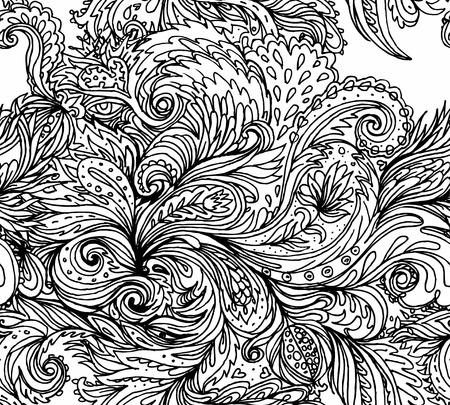 floral pattern: Beautiful ornate floral paisley seamless pattern