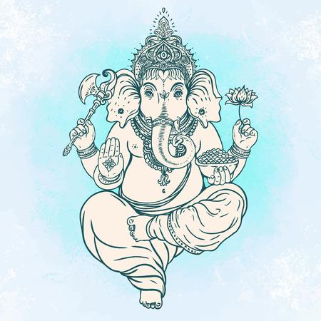 Hindu Lord Ganesha over ornate colorful mandala. Vector illustration. Ilustrace