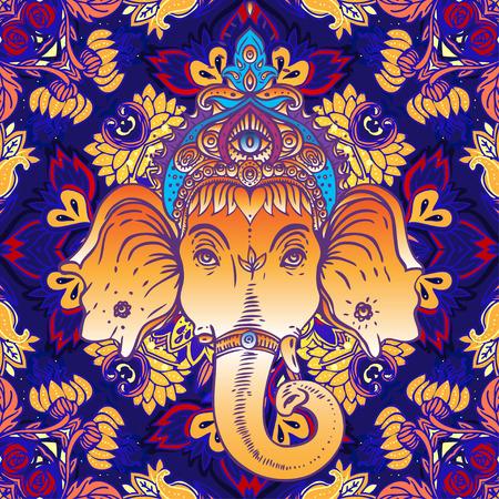 indische muster: Hindu Ganesha über verzierten bunten Mandala