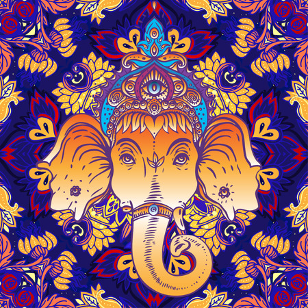 antique asian: Hindu Lord Ganesha over ornate colorful mandala Illustration