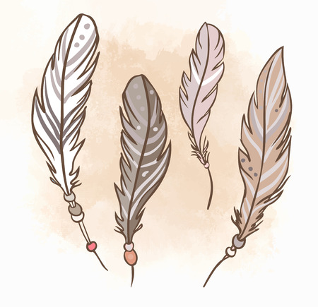 indian tattoo: Beige ornamental feathers. Hand drawn vector illustration