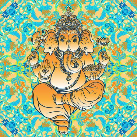 lord ganesha: Hind� Ganesha sobre mandala colorido adornado