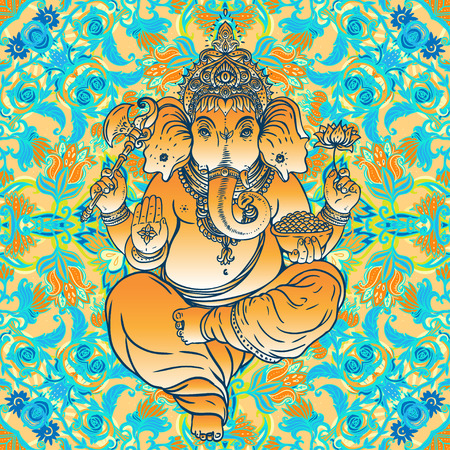 Hindu Lord Ganesha over ornate colorful mandala Illustration