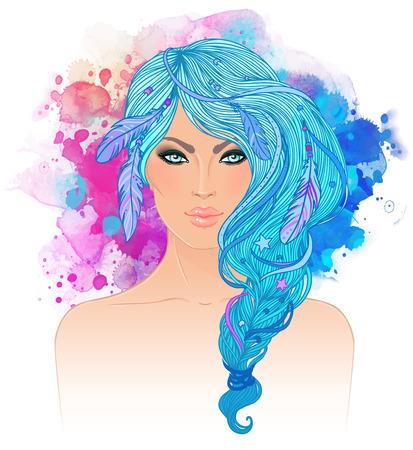 girl face: Boho style fashion girl illustration. Illustration