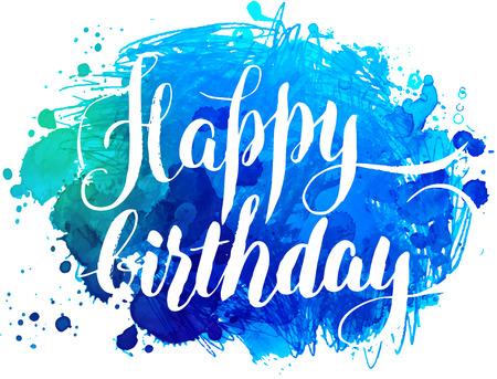 feliz: tarjeta de felicitación de la acuarela pintado a mano - Feliz cumpleaños