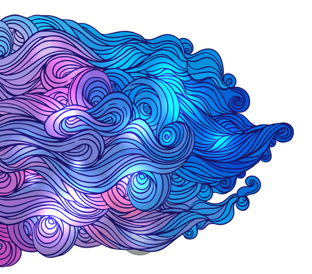 color abstract hand-drawn hair pattern with waves and clouds. Asian style element for design.