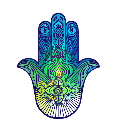 jewish: Ornate hand drawn hamsa. Popular Arabic and Jewish amulet