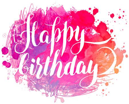 auguri di buon compleanno: dipinti a mano acquerello greeting card - Buon compleanno