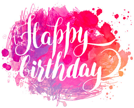 joyeux anniversaire: peints à la main aquarelle carte de voeux - Joyeux anniversaire