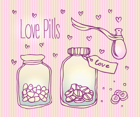 potion: Love potion. Vector illustration.