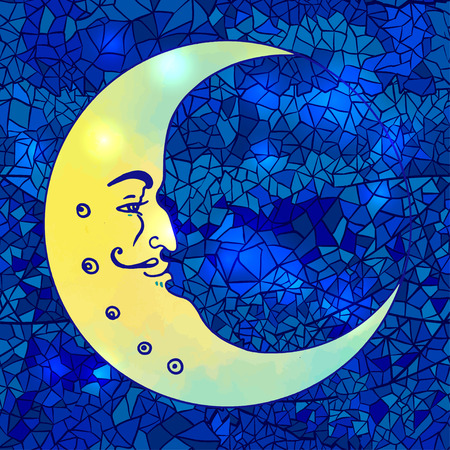 Vector drawing of the Moon with human face isolated on blue mosaic background. Illustration