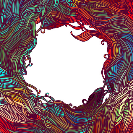 Decorative frame of hair or wave pattern. Abstract background.