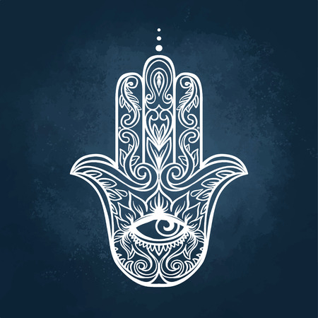 cabala: Ornate hand drawn hamsa. Popular Arabic and Jewish amulet. Vector illustration over colorful watercolor splash.