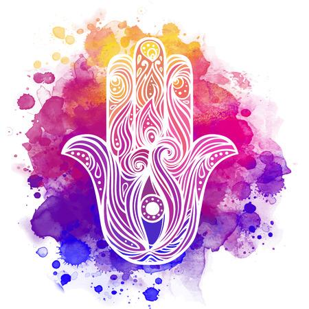 Ornate hand drawn hamsa. Popular Arabic and Jewish amulet Stok Fotoğraf - 43595181