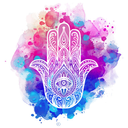 jewish background: Ornate hand drawn hamsa. Popular Arabic and Jewish amulet