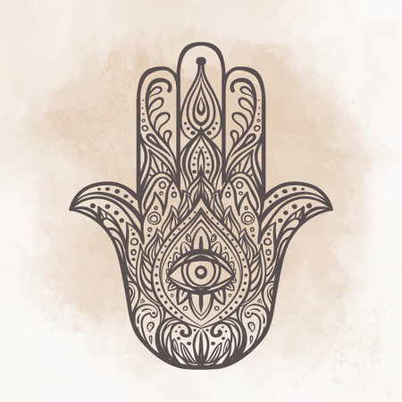 cabala: Ornate hand drawn hamsa. Popular Arabic and Jewish amulet