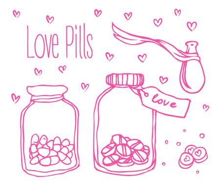 heart sketch: Love potion illustration. Illustration