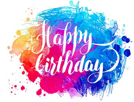 glücklich: Hand bemalt Aquarell Grußkarte - Happy Birthday