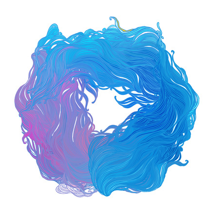 hair color: color abstract hand-drawn hair pattern with waves and clouds. Asian style element for design.