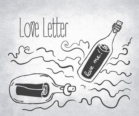 love letter: Love Letter: bottle jar with pink hearts inside