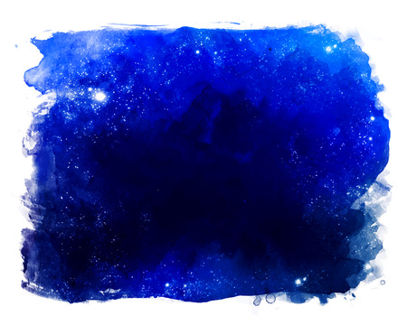 Watercolor space texture with glowing stars. Night starry sky with paint strokes and swashes. Stock Illustratie