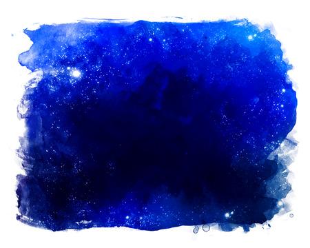 Aquarelle espace texture avec des étoiles incandescentes. Nuit ciel étoilé avec des coups de peinture et des clapotis.