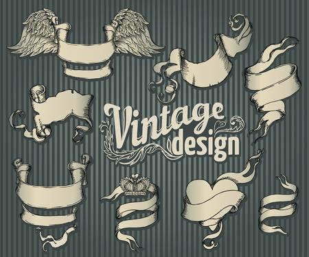 Elementi di design vintage set. Nastro con decorazioni floreali. Illustrazione vettoriale. Archivio Fotografico - 44358822