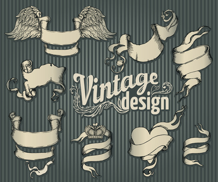 vintage document: Vintage design elements set. Ribbon with floral decor. Vector illustration.
