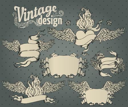 vintage design: Vintage design elements set. Ribbon with floral decor. Vector illustration.