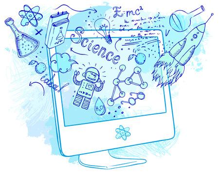 Back to School: E-Learning-Technologie-Konzept mit Computer mit Science Lab Objekte skizzenhaften Zusammensetzung, Vektor-Illustration isoliert auf weiß.