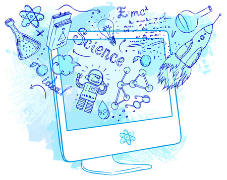 Back to School: e-learning technology concept with computer with science lab objects sketchy composition, vector illustration isolated on white. Stock Illustratie