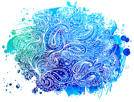 ink in water: Abstract vector watercolor background isolated on white. Illustration
