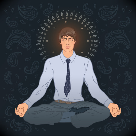 new age: Beautiful Caucasian Man sitting in Lotus pose with ornate mandala on background. Vector illustration. Spa consent, yoga studio, or natural medicine clinic.