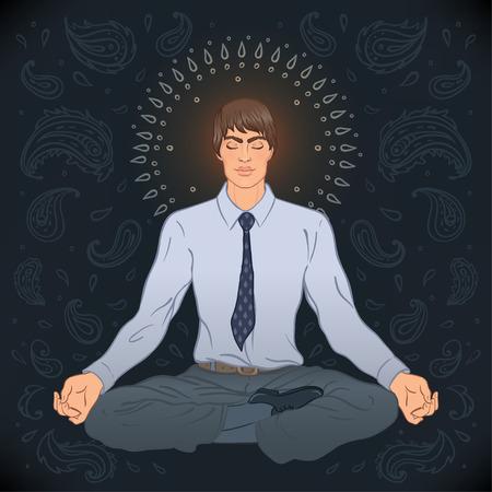 prana: Beautiful Caucasian Man sitting in Lotus pose with ornate mandala on background. Vector illustration. Spa consent, yoga studio, or natural medicine clinic.