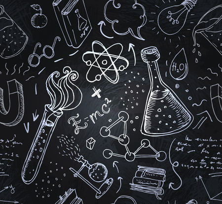 laboratory research: Back to School: science lab objects doodle vintage style sketches seamless pattern, vector illustration.
