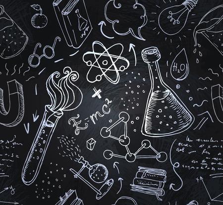 experimento: Volver a la escuela: objetos de laboratorio de ciencias del doodle de estilo vintage esboza sin patr�n, ilustraci�n vectorial.