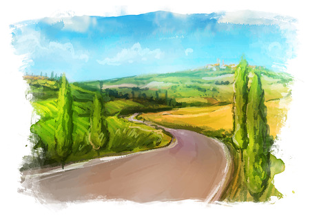 Tuscany: Rural landscape with fields and hills. Watercolor Illustration. Ilustração