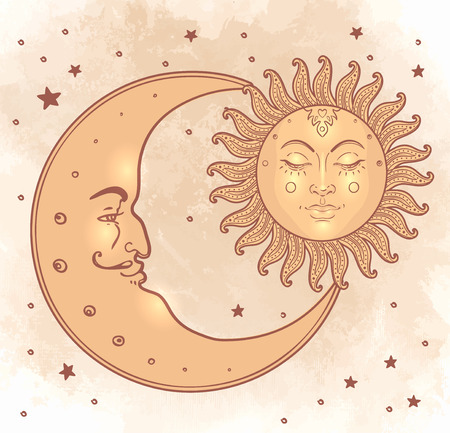 crescent moon: Sun and moon. Vector illustration in vintage engraving style. Illustration