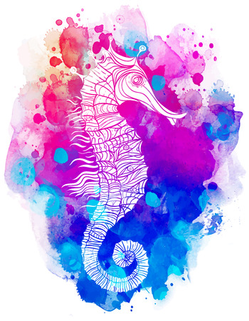 Rainbow seahorse, decorative geometric vector illustration isolated on white