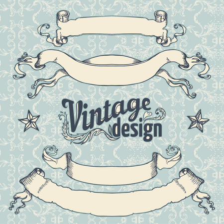 Vintage design elements set. Ribbon with floral decor. Vector illustration.