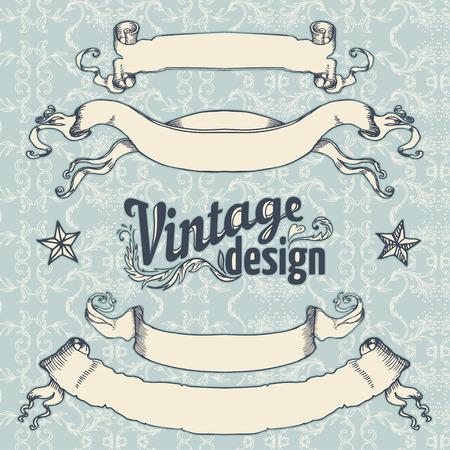 Vintage design elements set. Ribbon with floral decor. Vector illustration.