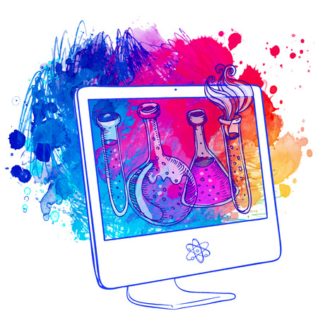 Back to School: e-learning technology concept with computer with science lab objects sketchy composition, vector illustration isolated on white. Иллюстрация
